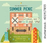 vector picnic glade card. food... | Shutterstock .eps vector #401917855