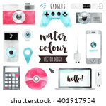 Premium quality watercolor icons set of smart media devices and personal gadgets. Hand drawn realistic vector decoration with text lettering. Flat lay watercolor objects isolated on white background.