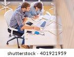 mixed gender business partners...   Shutterstock . vector #401921959