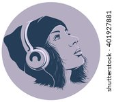 girl with headphones in a circle | Shutterstock .eps vector #401927881