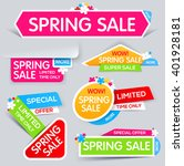 spring sale banner  sale and... | Shutterstock .eps vector #401928181