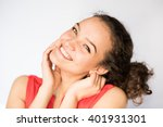 smiling pretty young woman... | Shutterstock . vector #401931301