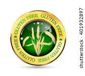 gluten free golden green button ...   Shutterstock .eps vector #401932897