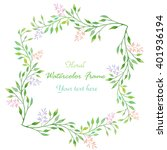 watercolor floral border... | Shutterstock . vector #401936194