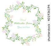 watercolor floral border... | Shutterstock . vector #401936194