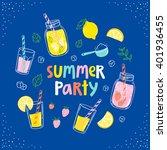 summer party lemonade colorful... | Shutterstock .eps vector #401936455