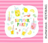 summer party card on a striped... | Shutterstock .eps vector #401936461
