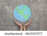 hands holding planet earth ... | Shutterstock . vector #401937277