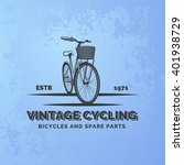 vintage road bicycle emblem on... | Shutterstock .eps vector #401938729