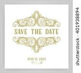 ornate frame and scroll... | Shutterstock .eps vector #401938894