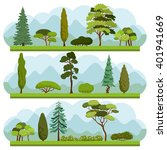 Set of different Trees and Bushes. Collection of various types and forms of trees and bushes. Ecology vector background concept.
