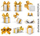 golden yellow gift box set 3d... | Shutterstock . vector #401942914