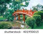 red bridge in japanese garden ... | Shutterstock . vector #401950015