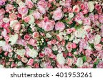 Stock photo closeup image of beautiful flowers wall background with amazing red and white roses top view 401953261