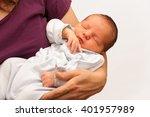 beautiful newborn baby sleeping ... | Shutterstock . vector #401957989