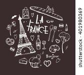 paris doodles elements. hand... | Shutterstock .eps vector #401980369