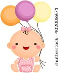 baby girl sit holding balloon | Shutterstock .eps vector #402008671