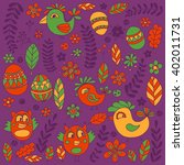 doodle set with flowers  birds... | Shutterstock .eps vector #402011731
