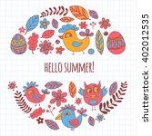 doodle set with flowers  birds... | Shutterstock .eps vector #402012535