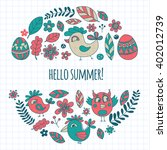 doodle set with flowers  birds... | Shutterstock .eps vector #402012739