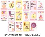 baby girl weeks and months cards | Shutterstock .eps vector #402016669