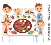 family who eats roasted meat | Shutterstock .eps vector #402023419