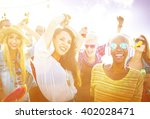 teenagers friends beach party... | Shutterstock . vector #402028471