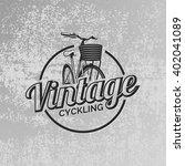 vintage road bicycle emblem on... | Shutterstock .eps vector #402041089