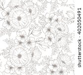 Stock vector vintage flower seamless pattern with poppy hand drawn background sketch 402050491