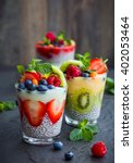 layered berry and chia seeds... | Shutterstock . vector #402053464