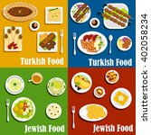 jewish and turkish cuisine with ...   Shutterstock .eps vector #402058234