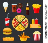 pizza with vegetarian and meat... | Shutterstock .eps vector #402060739
