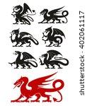 medieval heraldic dragons black ... | Shutterstock .eps vector #402061117
