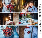 collage  newlyweds  wedding... | Shutterstock . vector #402062659