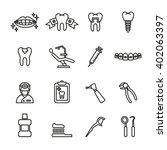 dental care icons. line style... | Shutterstock .eps vector #402063397