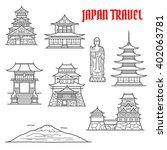 japan landmarks thin line icons ... | Shutterstock .eps vector #402063781
