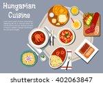 hungarian cuisine fried bread... | Shutterstock .eps vector #402063847