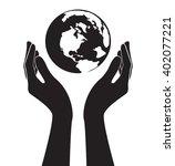hands holding world vector   Shutterstock .eps vector #402077221