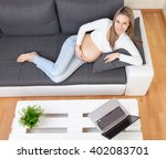 beautiful pregnant woman... | Shutterstock . vector #402083701