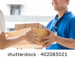 woman hand accepting a delivery ... | Shutterstock . vector #402085021