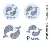 pisces cute zodiac sign icon....   Shutterstock .eps vector #402087379