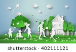 concept of happy family having... | Shutterstock .eps vector #402111121