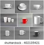 set of different cups on gray... | Shutterstock . vector #402135421
