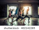 group of sportive people in a... | Shutterstock . vector #402142285