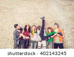 group portrait of multi ethnic... | Shutterstock . vector #402143245