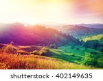 beautiful hills glowing by... | Shutterstock . vector #402149635