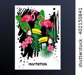 invitation with pink flamingo ... | Shutterstock .eps vector #402150841