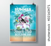 vector summer beach party flyer ... | Shutterstock .eps vector #402163471