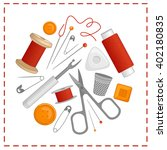 vector sewing tools in the... | Shutterstock .eps vector #402180835