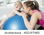 a mother with child boy doing... | Shutterstock . vector #402197485